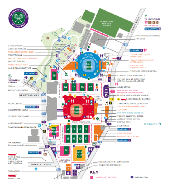 Wimbledon ground map showing all drinking water refill points