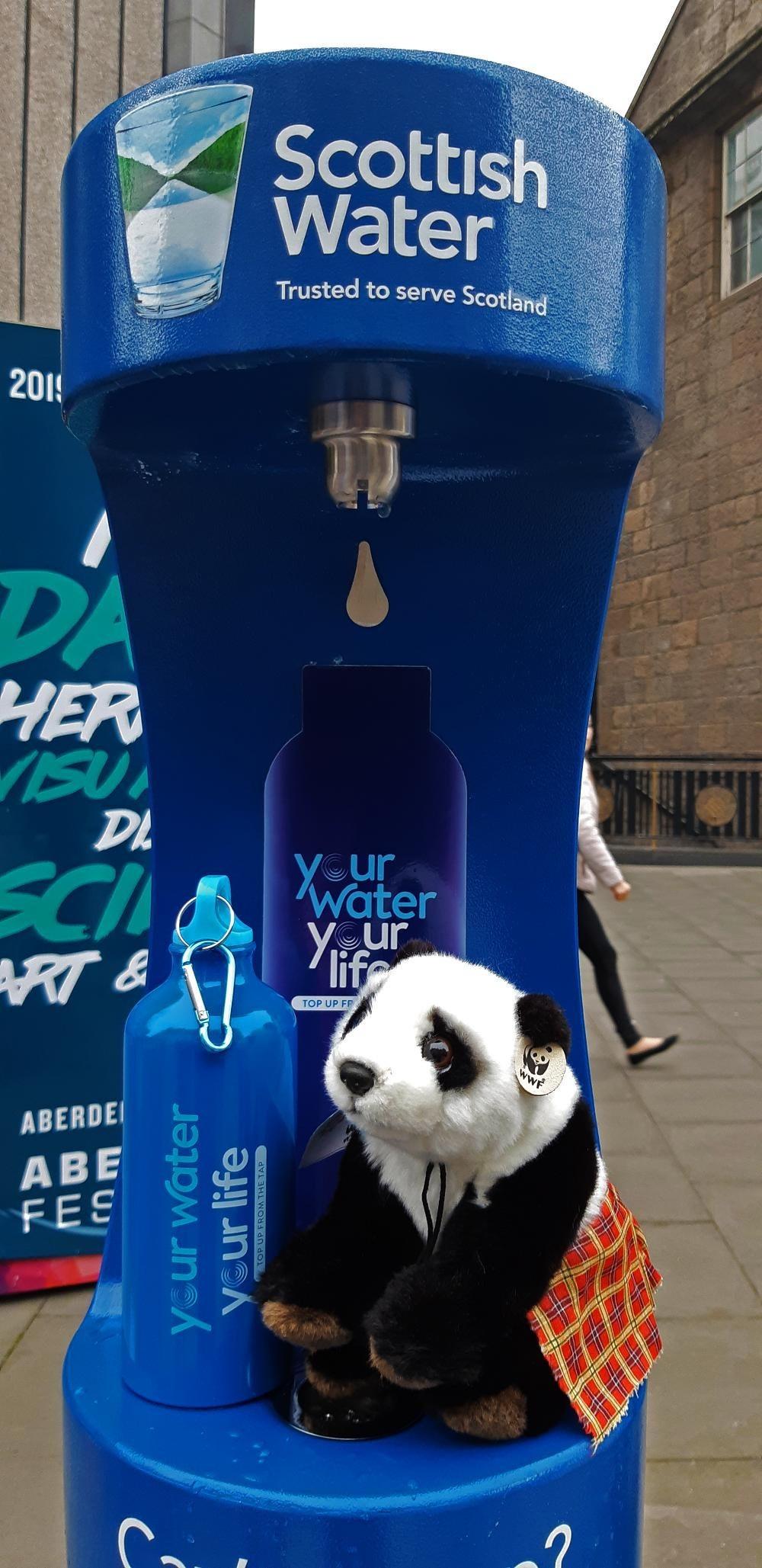 New blue outdoor bottle refill station in Aberdeen city centre