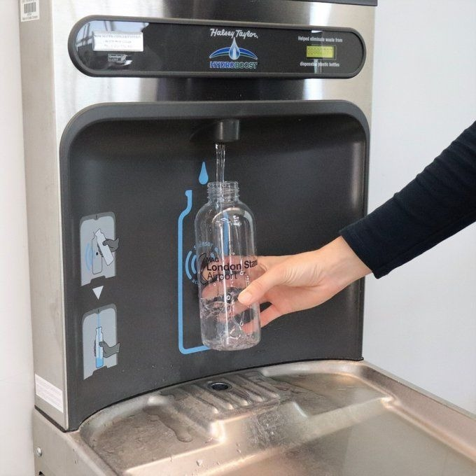 New WRAS approved bottle refill station in London Stansted Airport