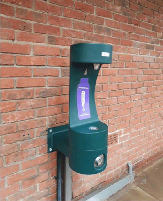 The new green bottle refill station mounted to a wall at Paddington Recreation Ground