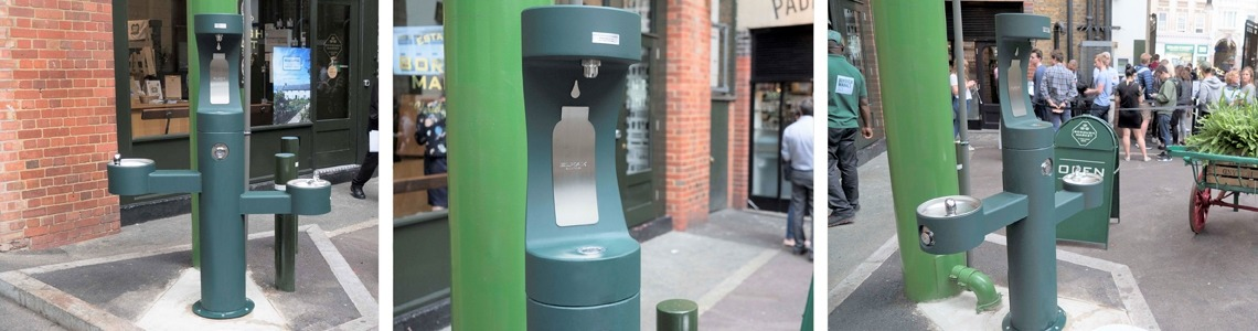Collage of the new green outdoor drinking fountain and bottle refill station in Borough Market