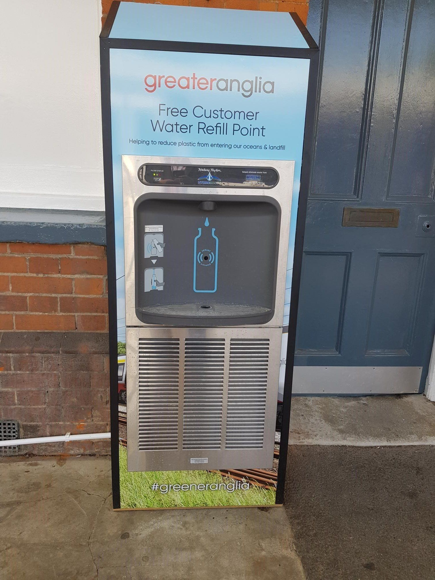New branded Greater Anglia bottle refill station
