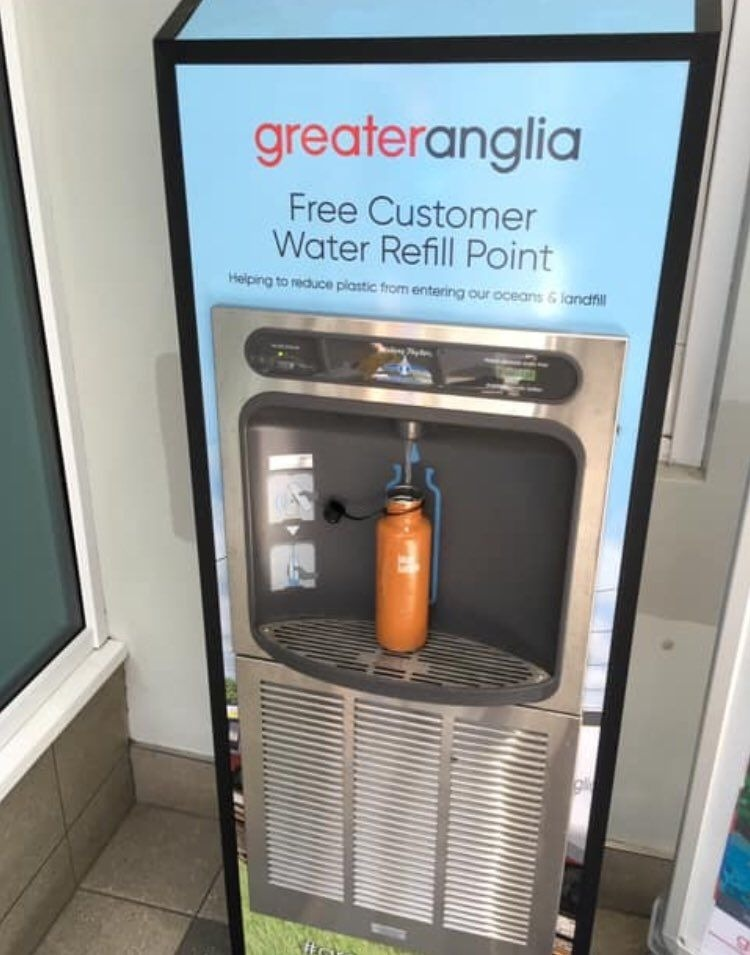 Reusable bottle being refilled at the new drinking fountain.