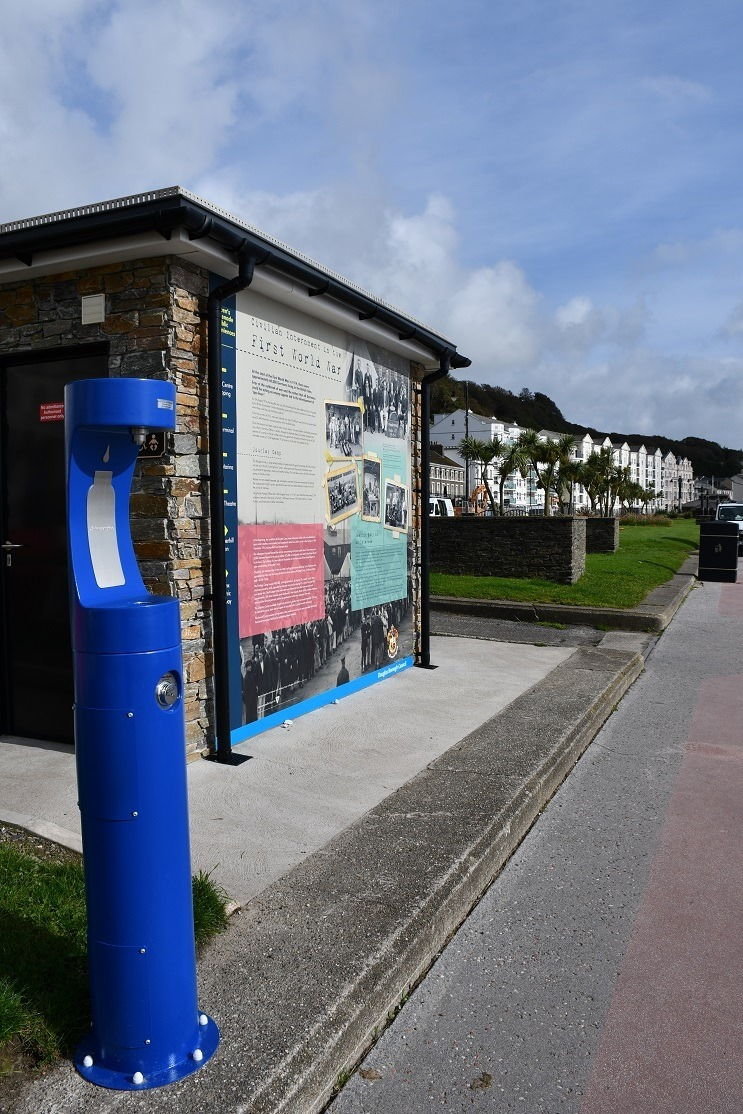 New bottle refill station in blue colour.