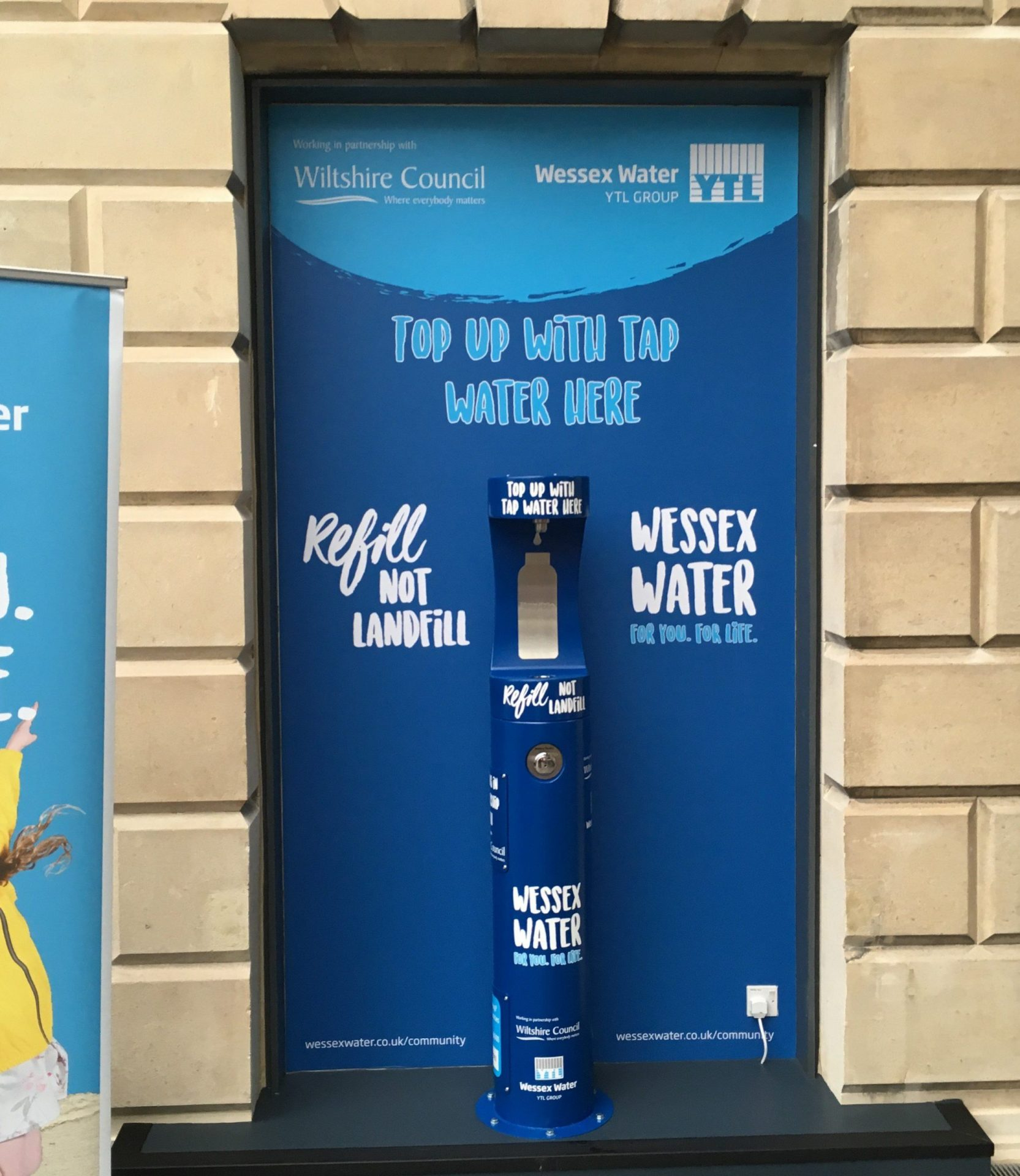 Newly installed Wessex Water and Wiltshire Council bottle refill station in County Hall