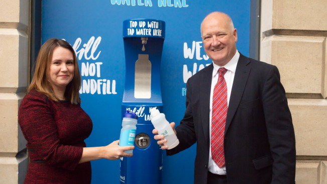 Wessex Water's Head of Community Engagement Kirsty Scarlett and Cllr Philip Whitehead, Wiltshire Council Leader, opening the new drinking fountain in County Hall