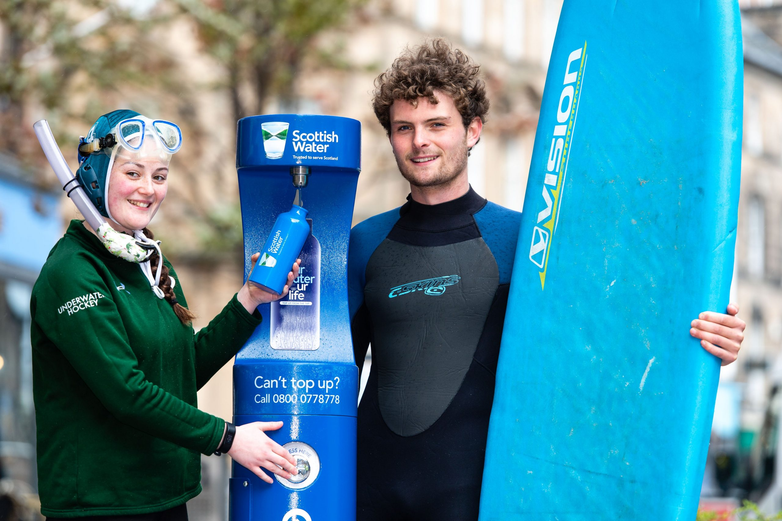 Members of University of Stirling's Surf Club with the new Scottish Water drinking fountain