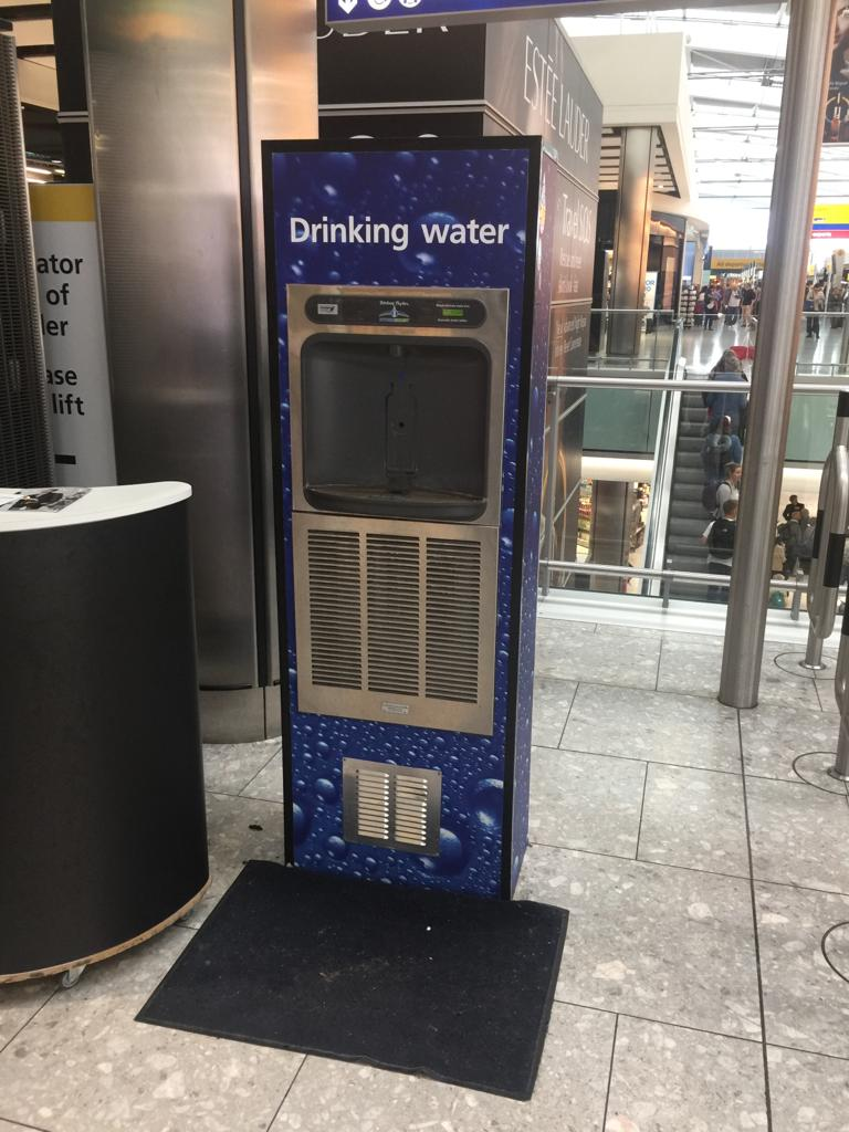 Branded bottle refill station at Heathrow Airport