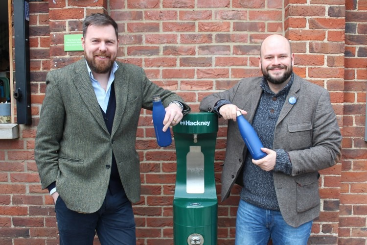 Cllr Jon Burke and Mayor of Hackney, Philip Glanville with the new drinking fountain