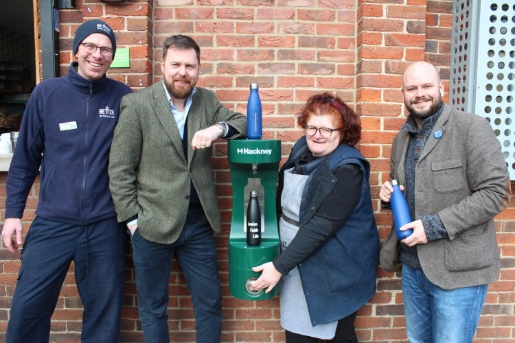 Hackney Council team with the new bottle refill station in Hackney