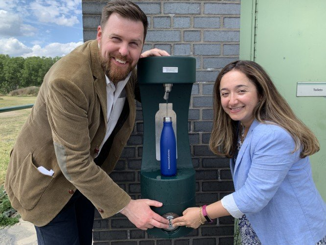 Newly installed green bottle filler in Hackney