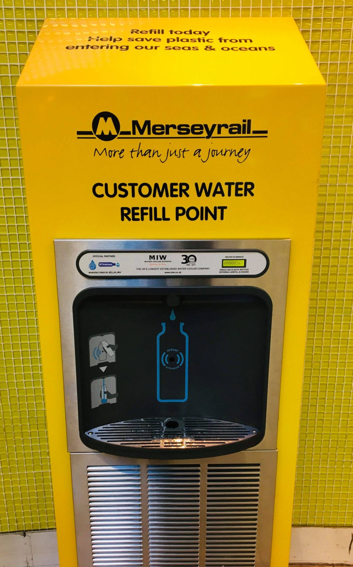 Branded Merseyrail bottle refill station