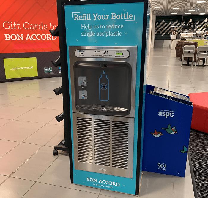 Branded Eco-Dispenser bottle refill station in Aberdeen shopping centre.