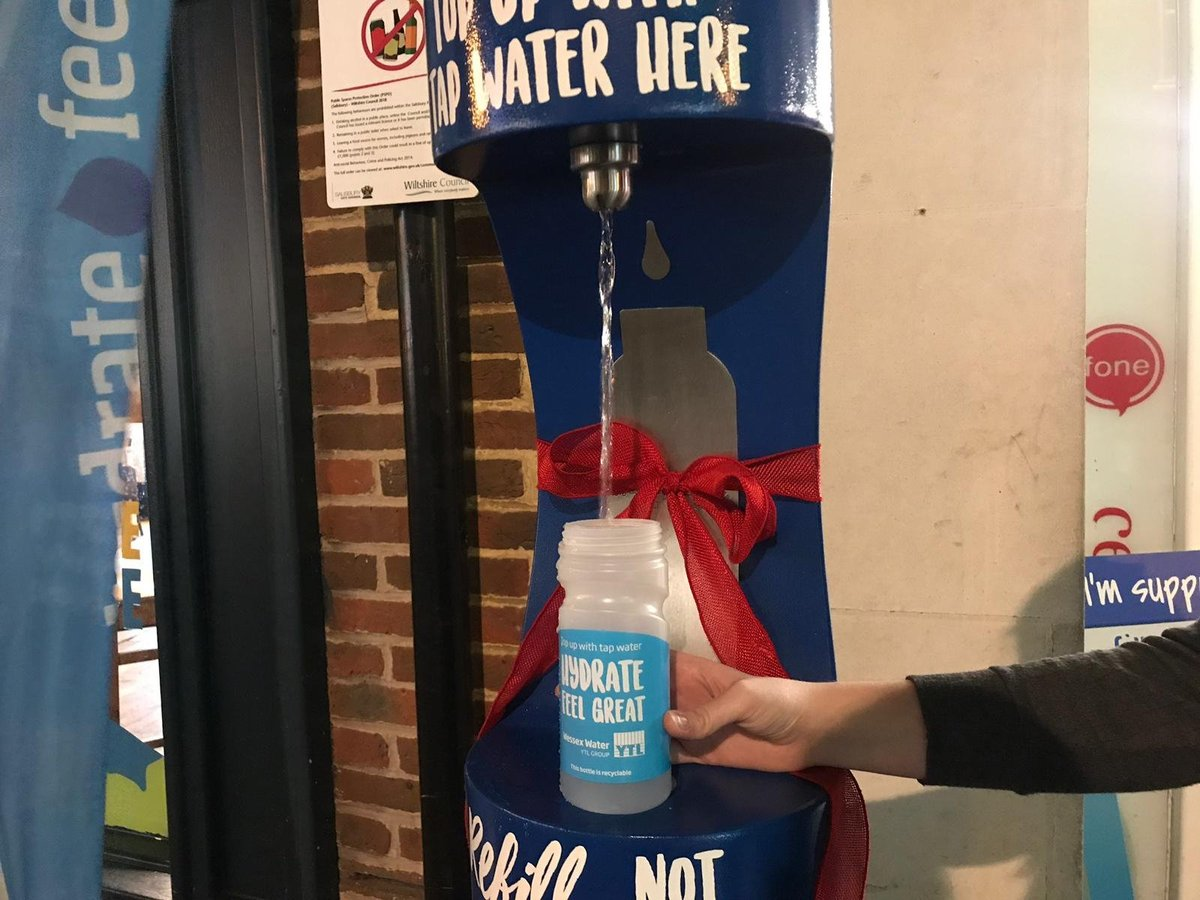 Reusable bottle filling up at the new drinking fountain in Salisbury.