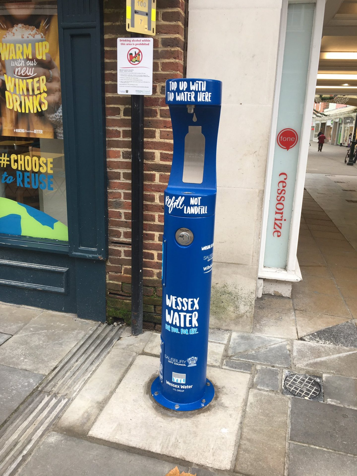 Newly installed Wessex Water and Salisbury Council bottle refill station.