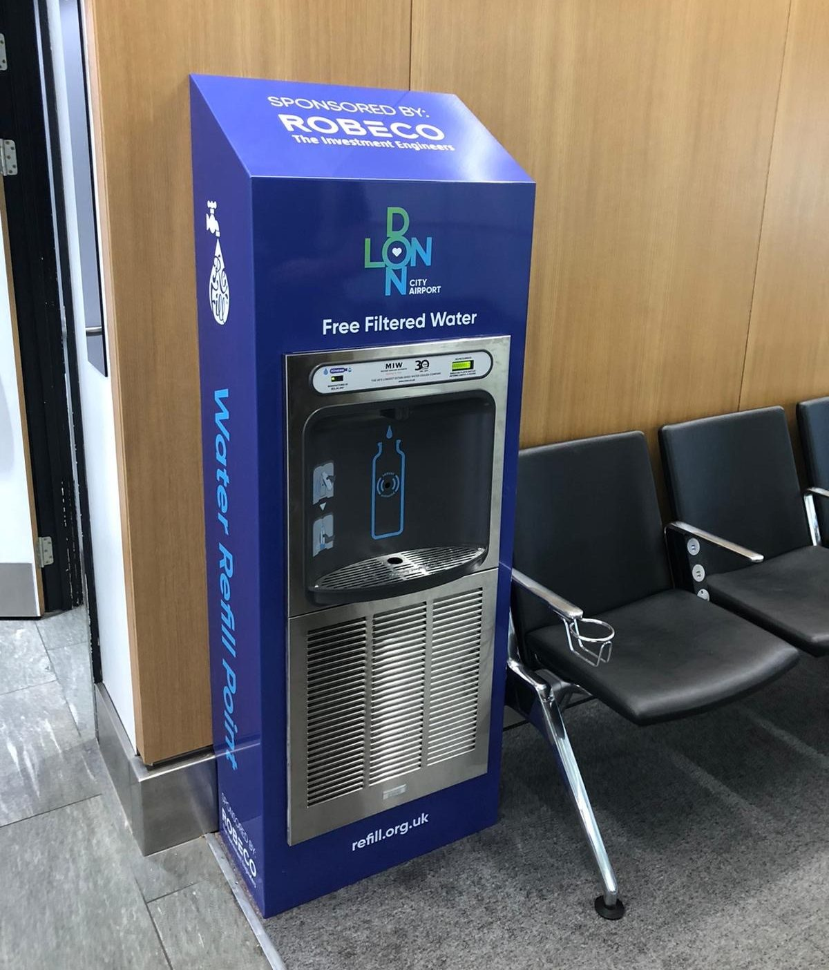 Eco Dispenser Bottle Refill Station Installed in London City Airport