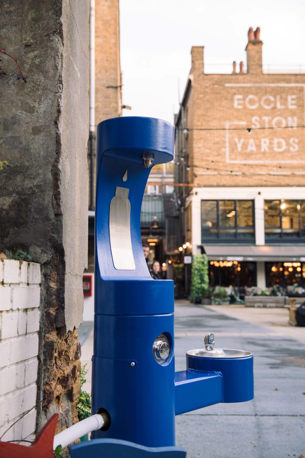 Blue Elkay outdoor drinking fountain