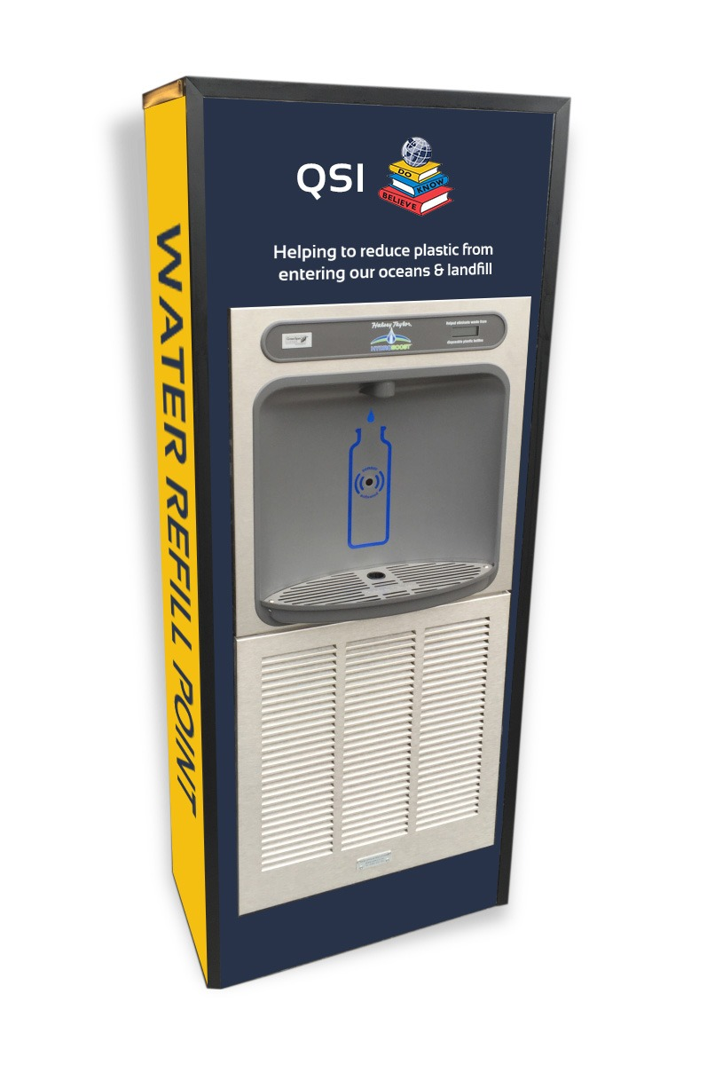 Image of a contactless water bottle filler for QSI International School