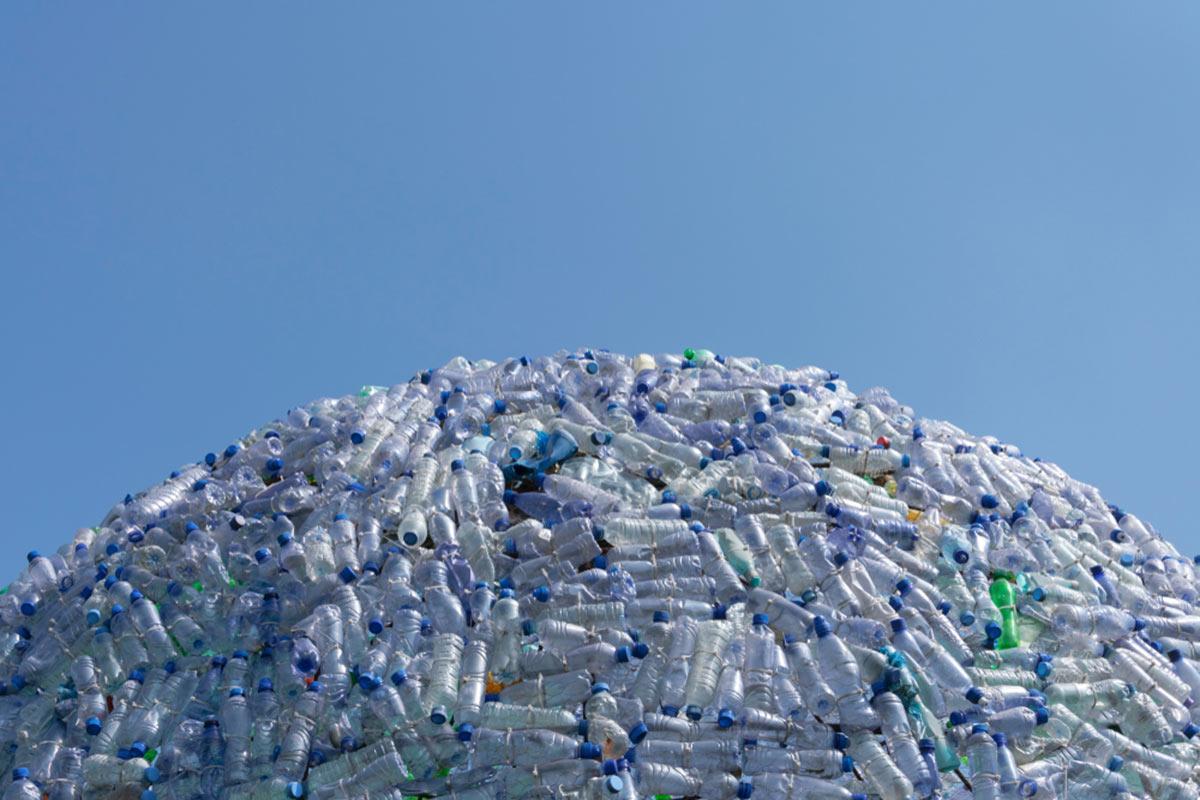Large pile of plastic bottle waste
